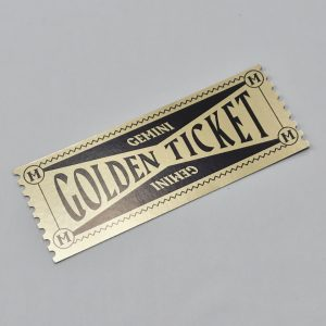 Gemini Deluxe Packaging - golden ticket front